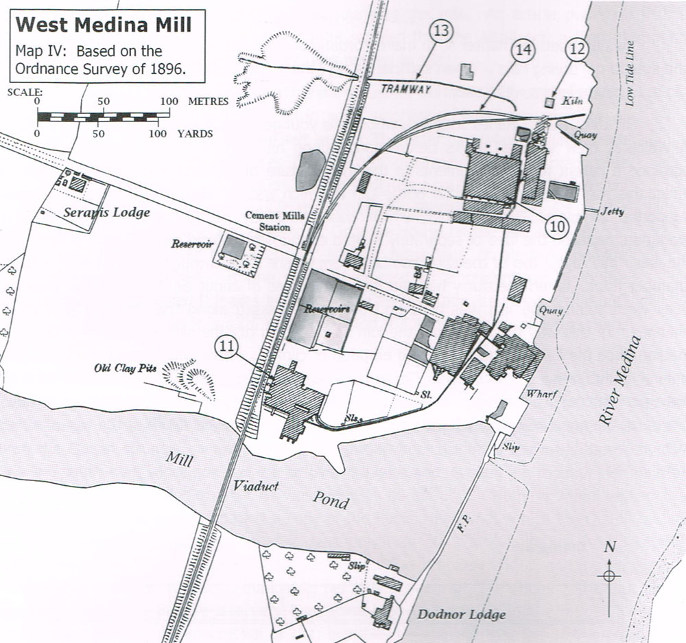 Based on the 1898 OS map and showing the Cement kiln block we have excavated as no. 11